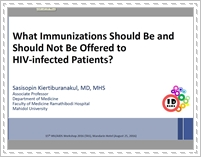 What immunizations should be and should not be offered to HIV-infected patients?